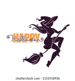 young happy and attractive witch riding a broom silhouette, for your Halloween advertise