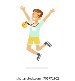 Young happy boy with a first place medal, kid celebrating his golden medal cartoon vector Illustration