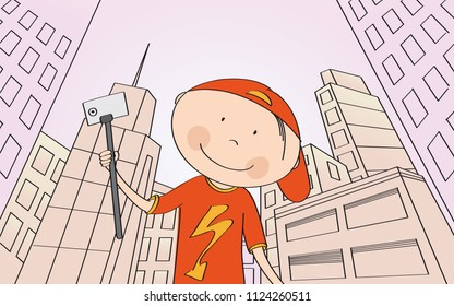 Young happy boy taking selfie in modern city with skyscrapers. View from below. Inclined perspective. Original hand drawn illustration.