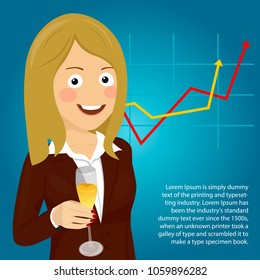 Young happy business woman showing her champagne glass against positive graph