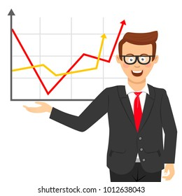 Young happy businessman with glasses showing positive line charts