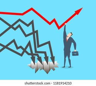Young happy businessman keeps the graph from falling. Flat vector illustration The concept of victory.