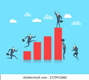 Young happy businessman on the top of the finance graph. Flat vector illustration The success concept.