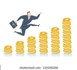 Young happy businessman runing up to the success. Flat vector illustration