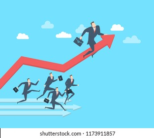 Young happy businessman runing up to the success. Flat vector illustration The concept of victory.