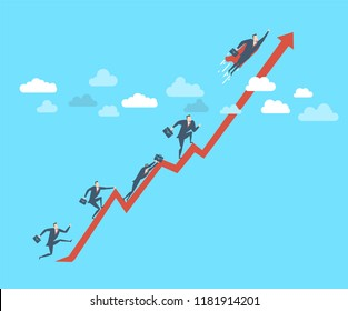 Young happy businessman as a superhero fly up to the success. Flat vector illustration The concept of victory.