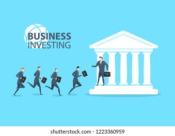 Young happy businessmans run to the bank to invest their money. Flat vector illustration The concept of success.