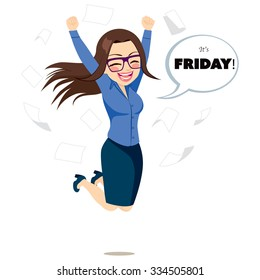Young happy businesswoman jumping happy with white bubble speech with it's Friday text and papers flying