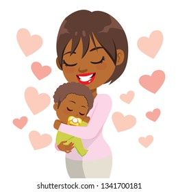 Young happy caring smiling African American mother holding sleeping cute baby