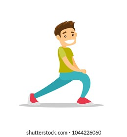 Young happy caucasian white man doing stretching warm up exercise. Sportsman stretching legs doing forward lunge before workout. Vector cartoon illustration isolated on white background. Square layout