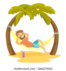 Young happy caucasian white man relaxing on the beach in a hammock under the palm trees. Hipster man lying in hammock on tropical beach. Vector cartoon illustration isolated on white background.