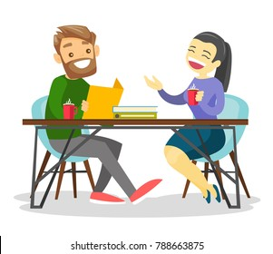 Young happy caucasian white office workers chatting and drinking coffee in office. Businesswoman and businessman having a coffee break at work. Vector cartoon illustration isolated on white background