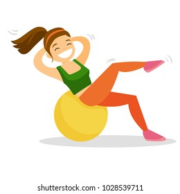 Young happy caucasian white woman doing exercises on a fitball. Sportswoman doing crunches on a fitball. Healthy lifestyle and sport concept. Vector cartoon illustration isolated on white background.