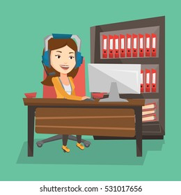 Young happy caucasian woman using computer for playing games. Cheerful woman in headphones playing online games. Smiling woman playing computer game. Vector flat design illustration. Square layout.