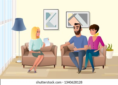 Young Happy Couple Accepting Terms of Contract with Realtor or Wedding Planner Cartoon Vector Illustration. Wife with Husband Visiting Family Psychologist, Agree with Rules List. Loan Approval Concept
