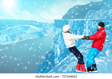 Young happy couple dancing and having fun at winter in high mountains