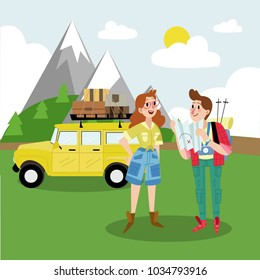 young happy couple girl and man traveling in the mountains look way on map. Hike, trip, journey, outdoor. Yellow car whith lagguge, baggage. Backgroud mountain, hills. Holidays outdoor in nature.