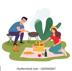 Young happy couple having picnic in the park. Vector flat illustration
