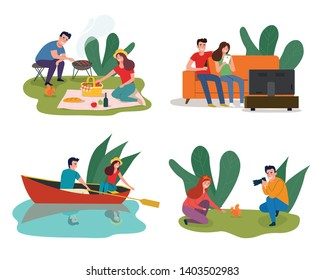Young happy couple having picnic in the park, sitting on sofa and watching TV, sailing in a boat, Man photographing a girl. Vector flat illustration
