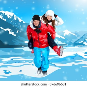 Young happy couple running on winter mountains background