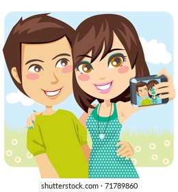 Young happy couple taking a snapshot of themselves with a digital camera