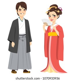 Young happy couple wearing Japanese traditional fashion clothing