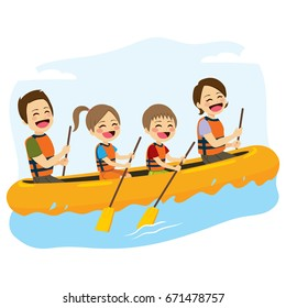Young happy family rafting together in wild river