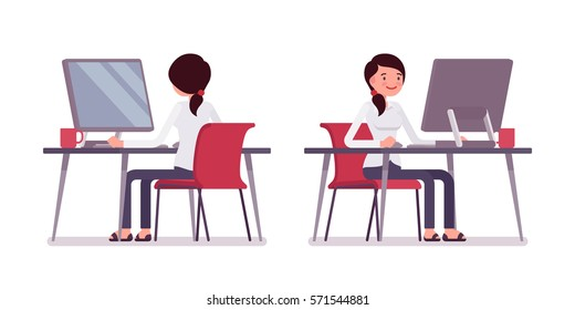 Young happy female clerk sitting at the desk and working at the computer, looking at screen, rear and front view, comfortable workspace, friendly office, effective employee, organized manager