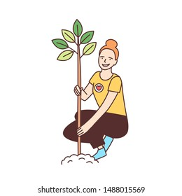 Young happy female volunteer or ecologist planting tree in park isolated on white background. Ecological or reforestation volunteering, altruistic activity. Vector illustration in line art style.