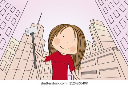 Young happy girl taking selfie in modern city with skyscrapers. View from below. Inclined perspective. Original hand drawn illustration.