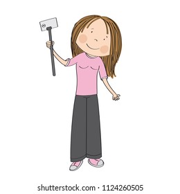 Young happy girl taking selfie. Original hand drawn illustration isolated on white.