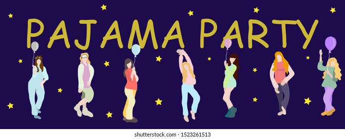 Young happy girls in pajamas with balloons. text pajama party. concept for pajama party or sleepovers. Colorful vector illustration. isolated girls figures on blue background