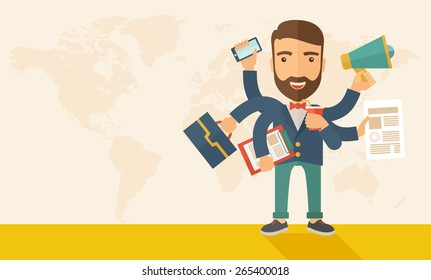 A young happy hipster Caucasian with beard has six arms doing multiple office tasks at once as a symbol of the ability to multitask, performing multiple task simultaneously. Multitasking concept.