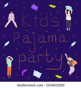 Young happy kids in pajamas with pillows. text pajama party. concept for pajama party or sleepovers. Colorful vector illustration. isolated girls figures on blue background