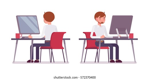 Young happy male clerk sitting at the desk and working at the computer, looking at screen, rear and front view, comfortable workspace, friendly office, effective employee, organized manager