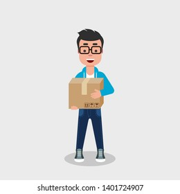 A young happy man holding a cardboard box. Delivery service concept. Moving day concept. Casually dressed character with closed packaging box. Vector illustration, flat style, clip art.