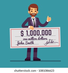 Young happy man holding money prize check for one million dollars. Cash lottery winnings and success vector concept. Man character with million prize lottery check illustration