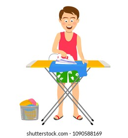 Young happy man ironing his clothes on ironing board at home