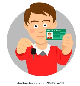 Young happy man showing his car keys and driving license