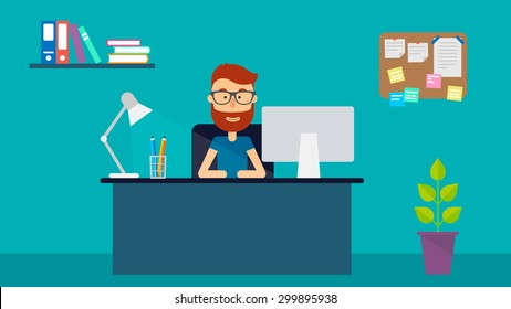 Young happy man sitting at desk in office. Flat illustration. Vector stock.