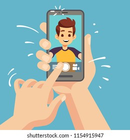 Young happy man taking selfie photo on smartphone. Male face portrait on cellphone screen. Cartoon vector illustration. Video selfie man, photographing young guy, posing selfportrait