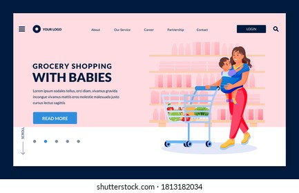 Young happy mother with baby in sling carrier make shopping at grocery store. Vector flat cartoon characters illustration. Smiling woman carrying kid and supermarket cart