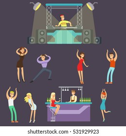 Young Happy People Dancing In Night Club And Drinking In The Bar. DJ Playing Music Cartoon Vector Illustration
