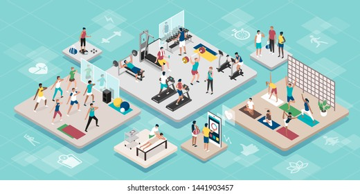 Young happy people practicing sports together at the gym and different workouts: fitness, health and training concept, vector isometric interiors