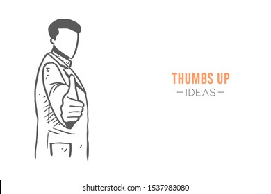 Young happy smart male doctor giving thumbs up gesture. Great excellent medical service care sketch concept vector illustration. Hand drawn isolated design. Suitable for poster and banner template