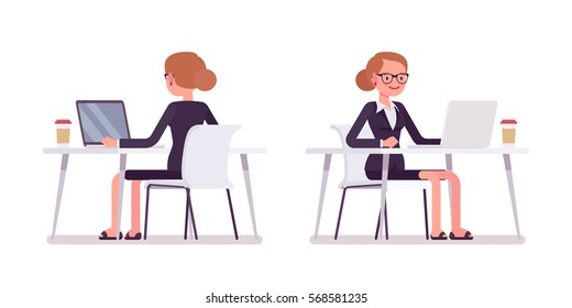 Young happy smiling businesswoman sitting at the desk and working at the computer, looking at screen, rear and front view, comfortable workspace, friendly office, effective employee, organized manager