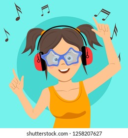 Young happy teenage girl singing and having fun listening to the music using wireless earphones