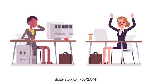 Young happy and unhappy businesswomen in formal wear sitting and working at the office desk, old computer won't start up, modern laptop is fast, rear and front view, isolated against white background