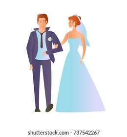 Young happy wedding couple. Man and woman in love. Vector Illustration, isolated on white background.