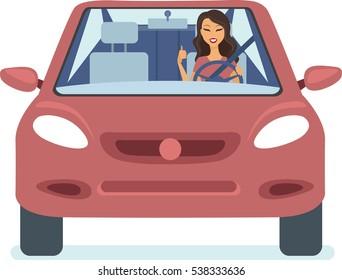 Young happy woman driving car flat vector
